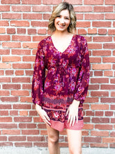 Load image into Gallery viewer, Lovestitch Wine/Spice Border Print Dress Front