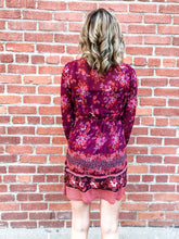 Load image into Gallery viewer, Lovestitch Wine/Spice Border Print Dress Back
