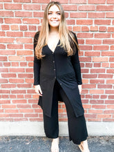 Load image into Gallery viewer, Black Ribbed Tunic Lounge Set Front