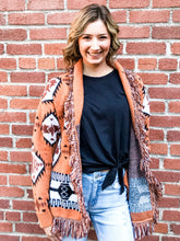 Load image into Gallery viewer, Rust Aztec Print Cardigan Front