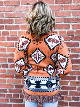 Load image into Gallery viewer, Rust Aztec Print Cardigan Back