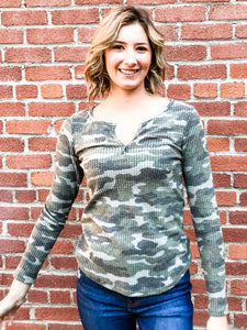 Camo Thermal Long Sleeve Top Front