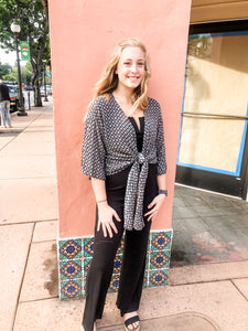 Black/Taupe Medallion Tie Front Cardigan