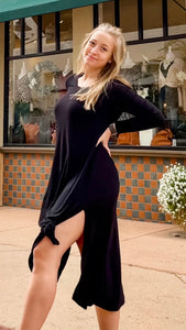 Black Long Sleeve Midi Dress with Slit