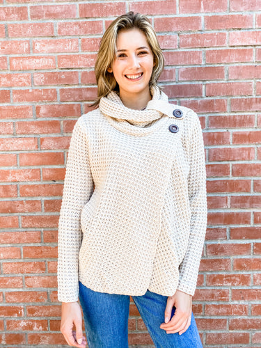 Beige Chunky Knit Turtleneck with Buttons Front
