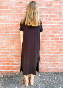 Black Jersey Knit Tee Dress Back