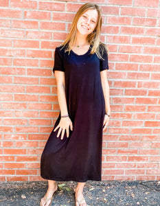 Black Jersey Knit Tee Dress Front