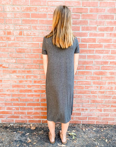 Charcoal Short Sleeve Jersey Dress Back
