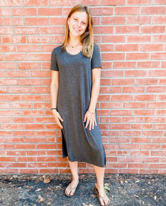 Charcoal Short Sleeve Jersey Dress Front