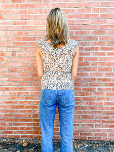 Leopard Print Ruffle Top Back