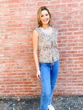 Load image into Gallery viewer, Leopard Print Ruffle Top Front