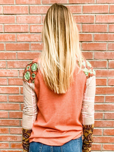 Rust Multi Thermal Mix Long Sleeve Top Back