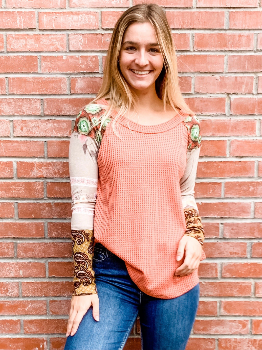 Rust Multi Thermal Mix Long Sleeve Top Front