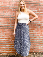 Load image into Gallery viewer, Navy Splash Print Midi Skirt Front