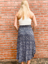 Load image into Gallery viewer, Navy Splash Print Midi Skirt Back