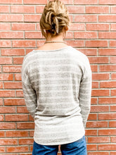 Load image into Gallery viewer, Grey Striped Hacci Pullover Back