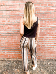 Taupe Patchwork Trouser Back