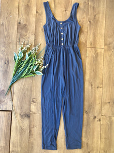 Navy Tank Jumpsuit with Buttons