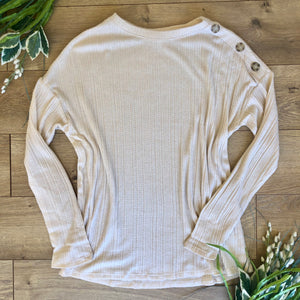 Oatmeal Rib Knit Long Sleeve Top