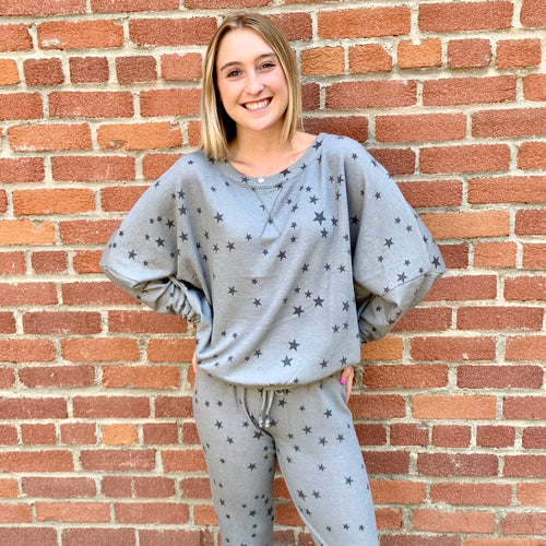 Loungewear Sweater Heather Grey With Stars