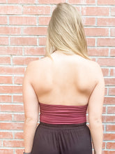 Load image into Gallery viewer, Wine Halter Neck Bodysuit Back