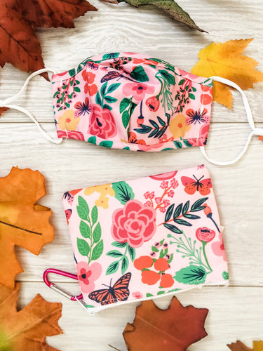 Pink Floral Kids Face Mask with Zipper Pouch