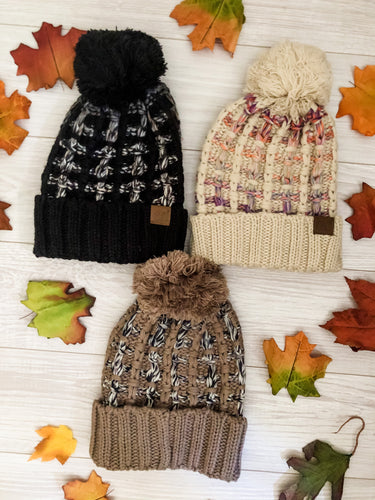 C.C. Cross Knit Roll Beanie with Pom