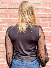 Load image into Gallery viewer, Black Long Sheer Sleeve Top Back