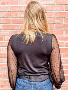 Black Long Sheer Sleeve Top Back