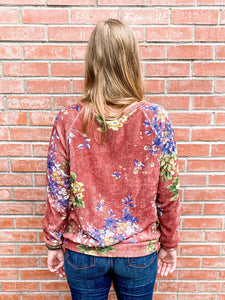 Marsala Floral Print Knit Sweater Back