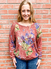 Load image into Gallery viewer, Marsala Floral Print Knit Sweater Front