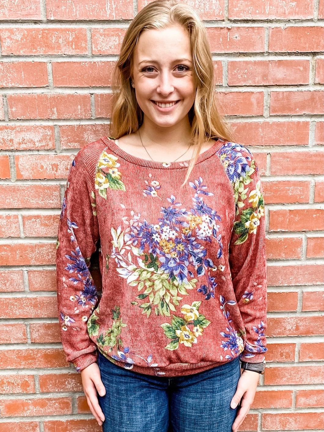Marsala Floral Print Knit Sweater Front