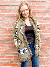 Load image into Gallery viewer, Olive Aztec Cardigan Front