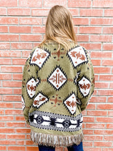 Load image into Gallery viewer, Olive Aztec Cardigan Back
