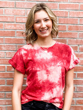 Load image into Gallery viewer, Burgundy Tie Dye Ruffle Short Sleeve Top Front