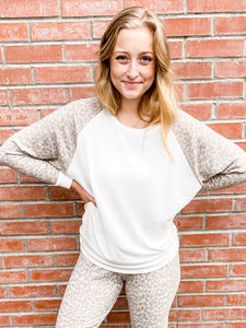 Taupe Leopard Sleeve Raglan Top Front