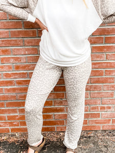 Taupe Leopard Sweatpants Front