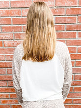 Load image into Gallery viewer, Taupe Leopard Sleeve Raglan Top Back