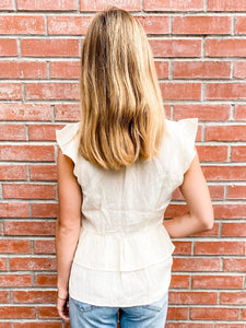 Cream Short Sleeve Tiered Blouse Back