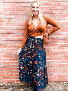 Teal Floral Tiered Maxi Skirt Front