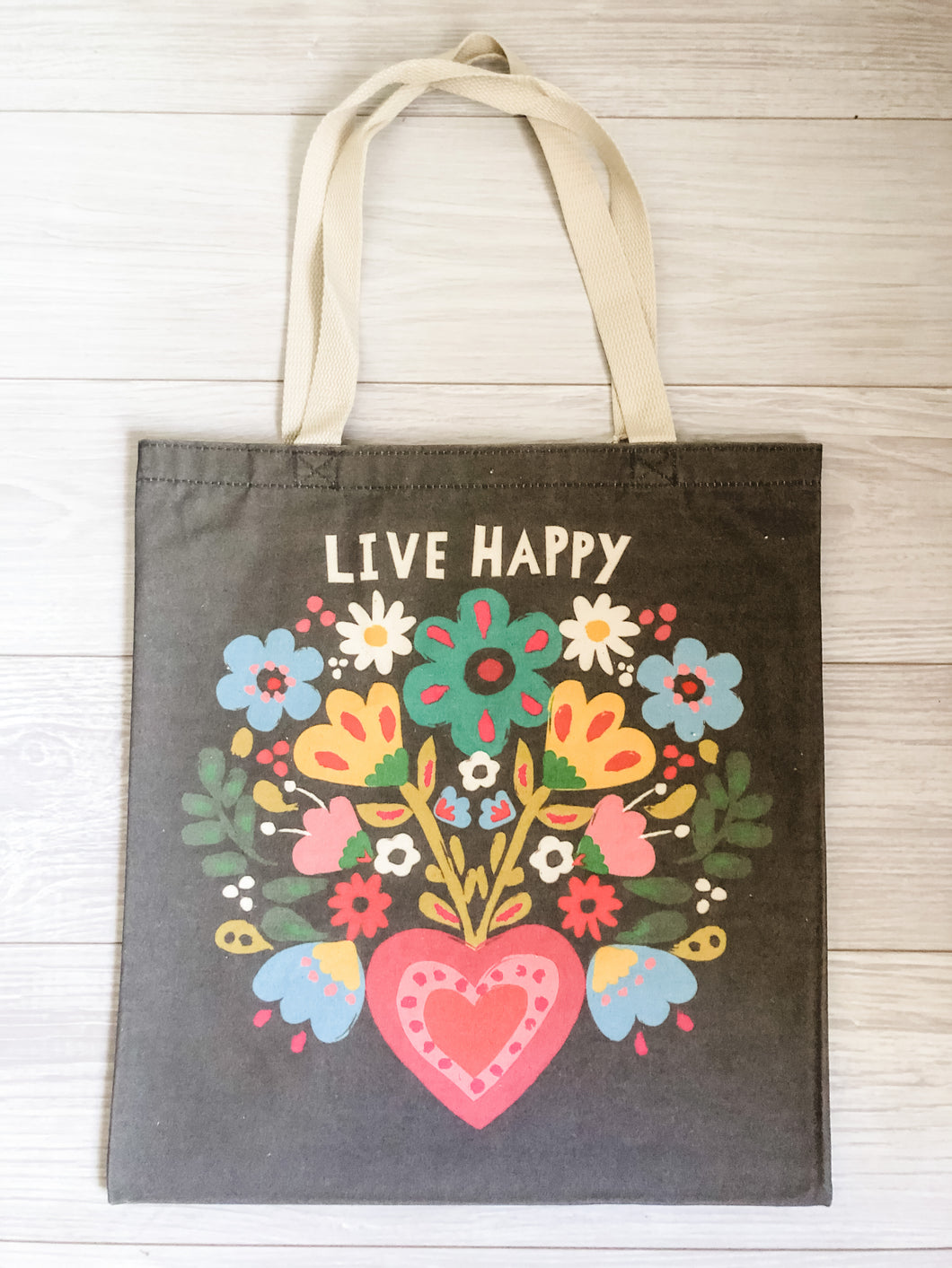 Live Happy Canvas Tote