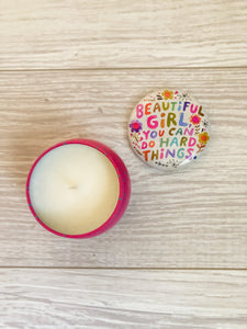Beautiful Girl Tin Candle