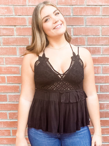 Black Tank Top with Scalloped Hem Front