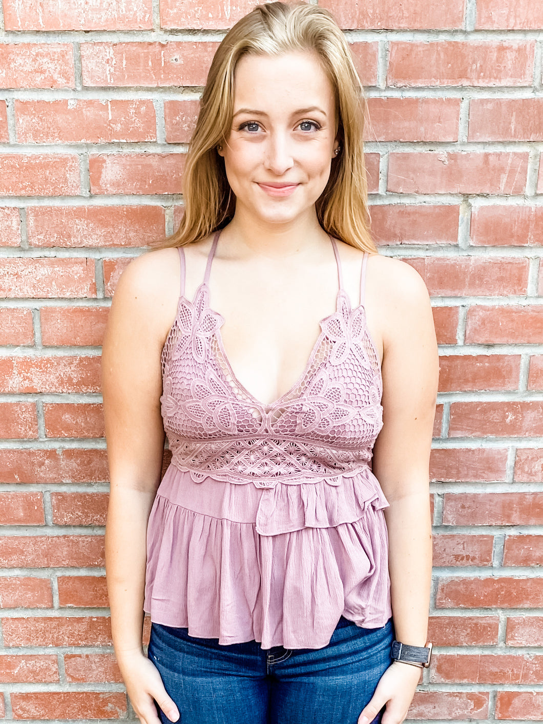 Mauve Tank Top with Scalloped Hem Front