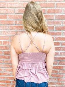 Mauve Tank Top with Scalloped Hem Back