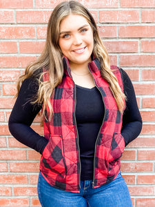 Crimson Plaid Puffy Vest with Pockets