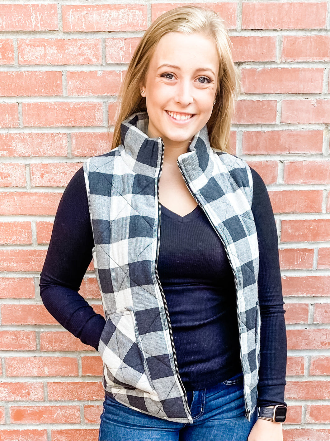 Charcoal Plaid Puffy Vest with Pockets Front