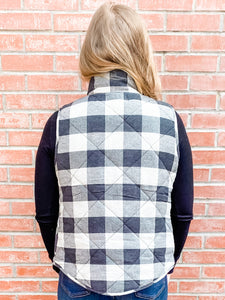 Charcoal Plaid Puffy Vest with Pockets Back