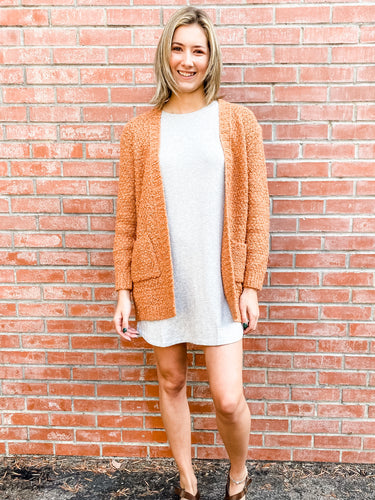 Burnt Orange Knit Cardigan Front