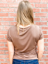 Load image into Gallery viewer, Mocha Short Sleeve Cut-Out Top Back